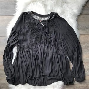 Free People front tie blouse